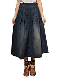 Women's Elastic Waist Relaxed Denim Jeans Long Full Skirts