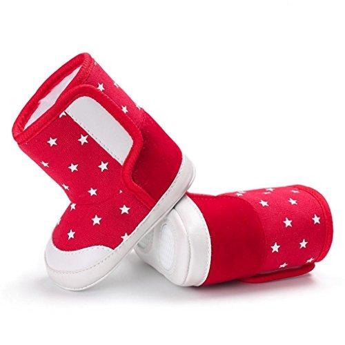 Baby Stiefel,Chshe Prewalker Säugling Süß Upper Baumwolle Sohle Stoff Star Drucken Anti-Rutsch Schuhe Trainer Rot