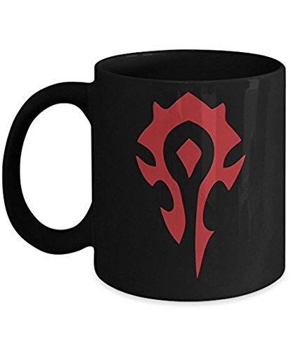 20oz OFFICIAL World of Warcraft HORDE GLOSS MATTE Black colored Ceramic Coffee Mug Novelty GIFT