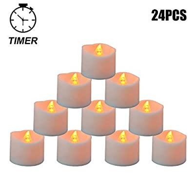 Youngerbaby 24pcs Amber Yellow Flickering Tea Light Candles with Timer - 6 hrs On 18 hrs Off - Battery Operated LED Flameless Tealight for Wedding,Party, Indoor Decoration