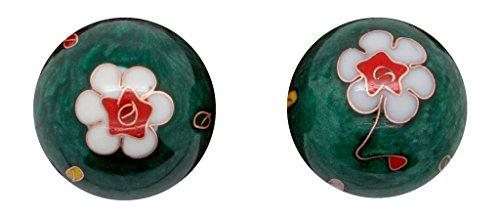 Meditation Qi-Gong-Kugeln mit Klangwerk   Klangkugeln   Yin Yang   Design Blume grün   verschiedene Durchmesser (Ø 40 mm)