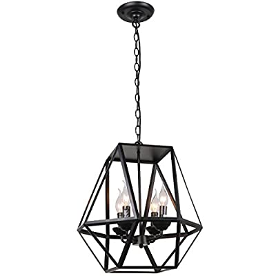 Unitary Brand Antique Black Metal Hanging Lantern Candle Chandelier with 4 E12 Bulb Sockets 160W Painted Finish - High quality,2 years guarantee. Installation type:Hardwired. Product Dimensions:18.1x18.1x55.2 inches. It's the perfect light fixture to install in kitchen,dining room,living room,foyers and more. Voltage:120V for North America.Max. Power:40W Bulb not included. Feature: If use edison bulbs, incandescent bulbs or dimmable LED bulbs, this fixture is dimmable. - kitchen-dining-room-decor, kitchen-dining-room, chandeliers-lighting - 410VSFVOCwL. SS400  -