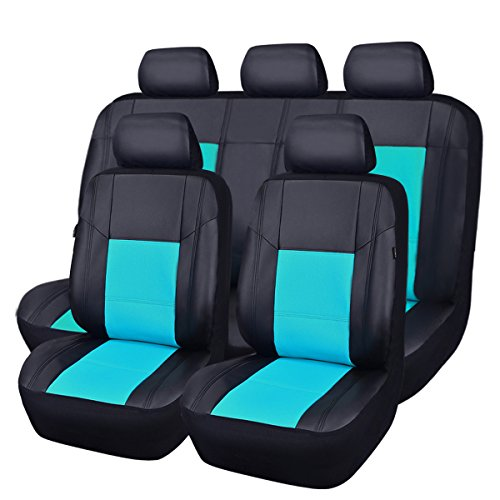(CAR PASS Skyline PU Leather CAR SEAT Covers - Universal FIT for Cars,SUV,Vehicles (11PCS, Mint)