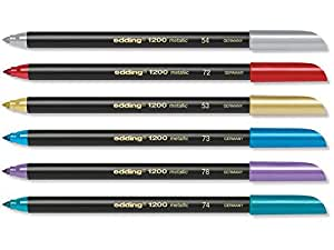 Edding 1200 Metallic color, 1 – 3 mm, punta redonda, Juego de 6