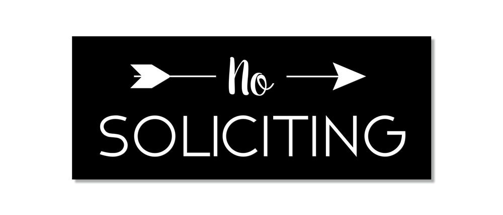 No Soliciting Sign for Home or Business | Laser Engraved on stylish material (Medium, Black/White)