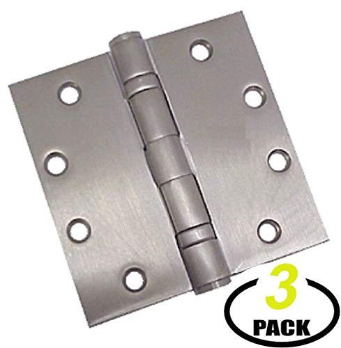 de Ball Bearing Door Hinge, NRP 4-1/2 x 4-1/2 Full Mortise Brush - 3- Pack (Stainless Steel) ()