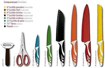 Set de cuchillos acero inoxidable royal crown pack de 8: Amazon.es ...