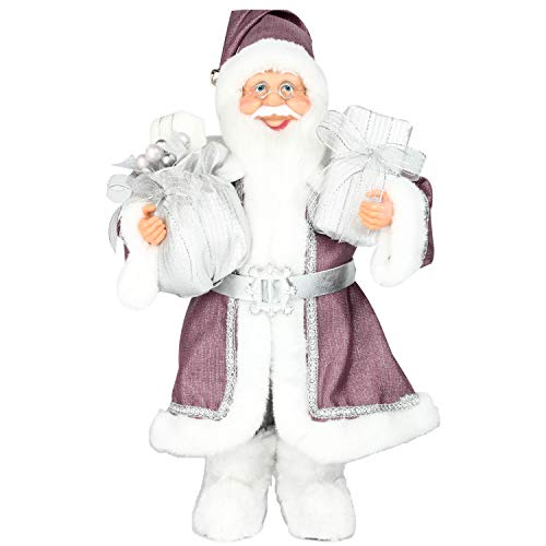 Costyleen Christmas Santa Claus Figurine Decoration Large Size Ornament Enjoyable Gift Doll Toy Table Decor Festival Present - Standing 17'' Purple
