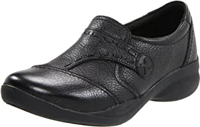 Clarks Women's Motion Camp Slip-On Loafer,Black Leather,5.5 M US