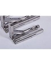 2x stabiele inklapbare scharnieren, rekhoek, klaphoek, roestvrij staal, inklapbaar, met hoge belastbaarheid in verschillende maten (29,5 x 11 x 1 cm, zilver)