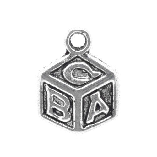 - Packet of 15 x Antique Silver Tibetan 13mm Charms Pendants (Abc Block) - (ZX04005) - Charming Beads