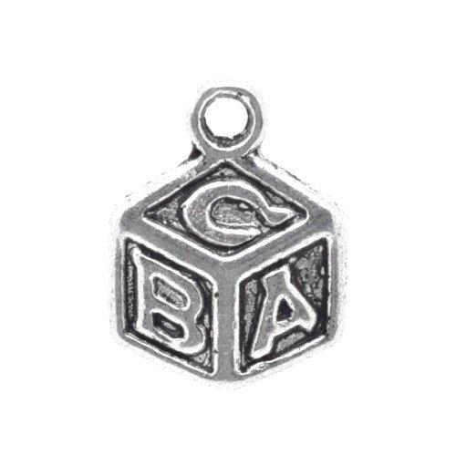 Packet of 15 x Antique Silver Tibetan 13mm Charms Pendants (Abc Block) - (ZX04005) - Charming Beads (Abc Charm Blocks)