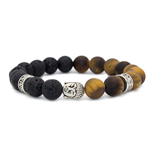 (Bivei Natural Lava Stone/Tiger Eye Stone Essential Oil Diffuser Bracelet - Silver Buddha Head Buddhist Prayer Beads Mala Meditation Protection Healing Jewelry)
