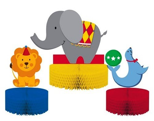 Creative Converting Circus Time Honeycomb Centerpiece Set, 3-Piece (3-Pack)