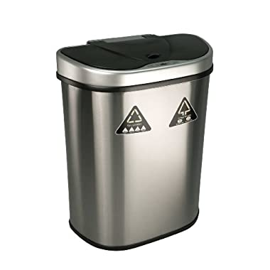 Nine Stars Trash Can/Recycler, Infrared Touchless Automatic Motion Sensor Lid, Stainless Steel, 18.5-Gallon