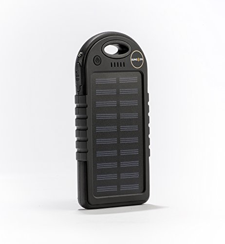Solar Charger, SunGods Solar Technologies,(USB cable included) 5000mAh Portable Solar Power Bank Dual USB Battery Bank for cell phone,iPhone,Samsung,Android phones. (Black)