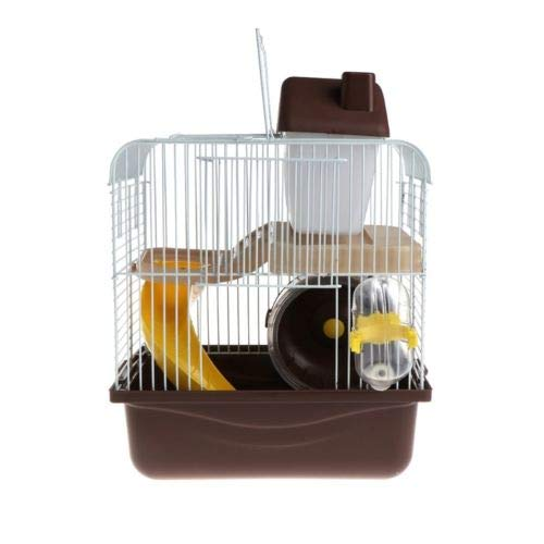 Coffee FidgetGear 2 Floors Storey Hamster Cage Mouse House with Slide Disk Spinning Water Bottle Coffee