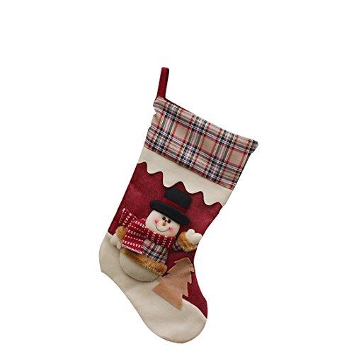 FREESOO 3PCS Christmas Stocking Sock Gift Bag Tree Decorating Supplies Festival Creative Decorative Socks Hanging Ornaments Decoration 1*Santa+1*Snowman+1*Elk