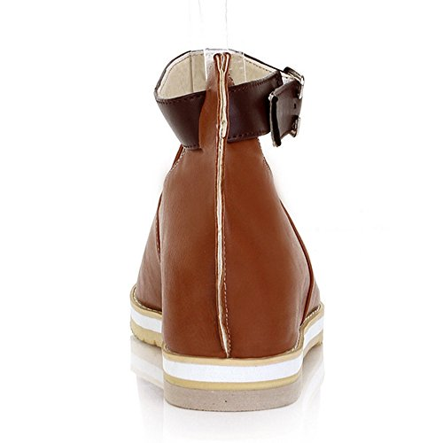 TAOFFEN Women Vintage Mid Hidden Heel Summer Sandals Peep Toe Shoes with Ankle Strap Brown iqTxi9mbzH