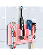 Mspan Toothbrush Holder Wall Mounted: Bathroom Accessories Organizer Stand Suction Mount for Shaver Loofah Razor Toothpaste Electric Toothbrush