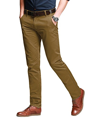 Match Men's Slim Fit Tapered Stretchy Casual Pants (32W x 31L, 8050 Yellow)