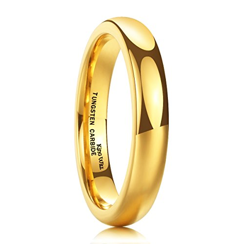 King Will Glory 4mm Gold Plated High Polished Comfort Fit Domed Tungsten Carbide Ring Wedding Band 9.5