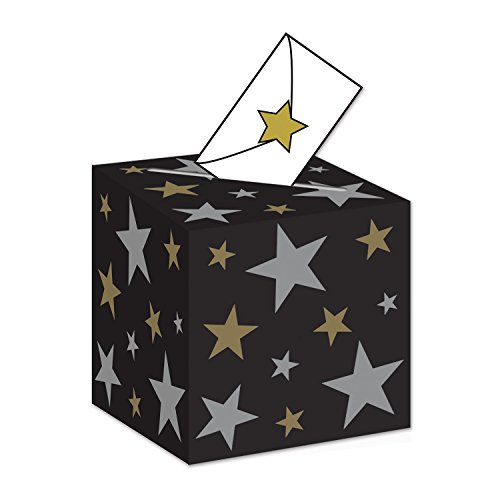 Beistle Awards Night Ballot Box, 9 by 9-Inch, Black/Gold/Silver