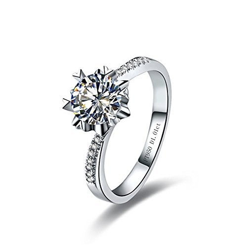 White Gold Snowflake - Test Positive ! 0.5CT Solid 14K White Gold Snowflake Ring Moissanite with Accent for Women (9)