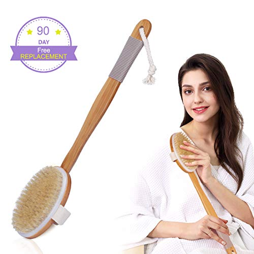 Shower Brush Dry Brush with Rubber Anti-skid Cover for Ladies Men and Elders Use Body Brush with Soft Bristles Back Scrubber Detachable Long Bamboo Handle (Soft Handle Brush)