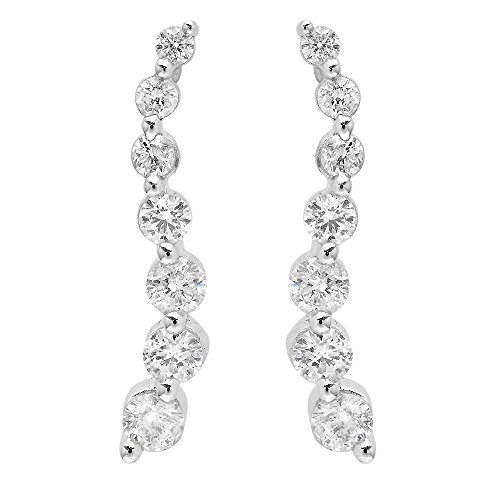 Dazzlingrock Collection 0.90 Carat (ctw) 14K Round White Diamond Ladies Journey Drop Earrings, White Gold
