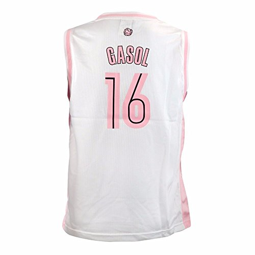 adidas Marc Gasol Memphis Grizzlies NBA White Official Fan Fashion Pink Basketball Jersey for Girls (XL) ()