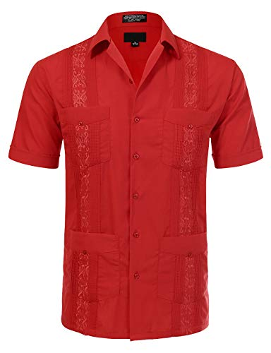 (JD Apparel Men's Short Sleeve Cuban Guayabera Shirts17-17.5N X-Large Red)