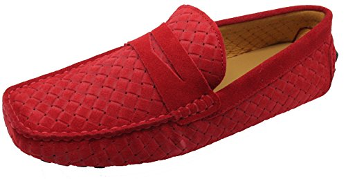 Santimon-mens Casual Comfort Vera Pelle Nabuk Outdoor Scarpe Basse Da Barca Mocassino Mocassino Rosso