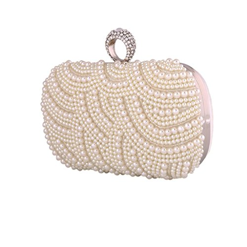 Bag Pearl bag BigForest Evening Bridal White Beaded Handbags Black Party Crystal Vintage Wedding Clutch Prom wwH7XE