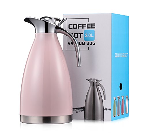 Eglaf 68 Oz Stainless Steel Thermal Carafe - Quality Thermal Pitcher - Vacuum Insulated Double Walled Coffee/Tea Carafe - Beverage Dispenser- hot/cold- 2L (pink) by Eglaf