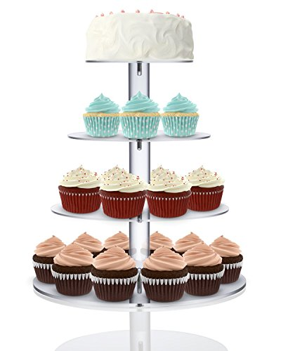 [Utenlid Acrylic 4-Tier Round Stacked Party Cupcake Stand with Stable Screw-On Pillars - Tiered Cupcake Stand / Cupcake Tower] (4 Tier Baby Cake)