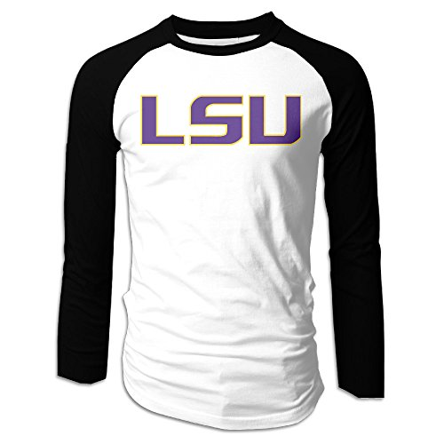 [Ahey Men's Fitted Long Sleeve Raglan Louisiana State University LSU Tee S] (Lsu Mascot Costume)