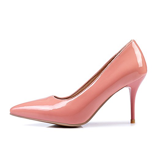 SexyPrey Women's Pointed Toe Pure Color 8cm Stiletto Heels Dress Party Bridal Court Shoes Pink LevgNpgItU