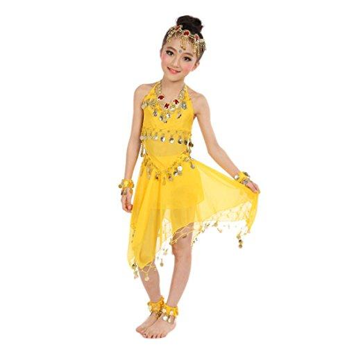 India Costume For Kid (Muxika Kid's Belly Dance Girl Halter Top+Dress India Dance Halloween Costume Set (Yellow))