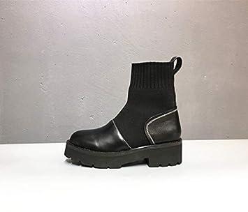 Shukun Botines Calcetines Botas Stretch Boots Botas de Invierno Mujer Primavera y otoño Martin Boots Thick con PU Botas de Moto: Amazon.es: Deportes y aire ...