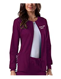 Embroidered Cherokee Women's Workwear Scrubs Core Stretch Zip Front Warm-Up Jacket