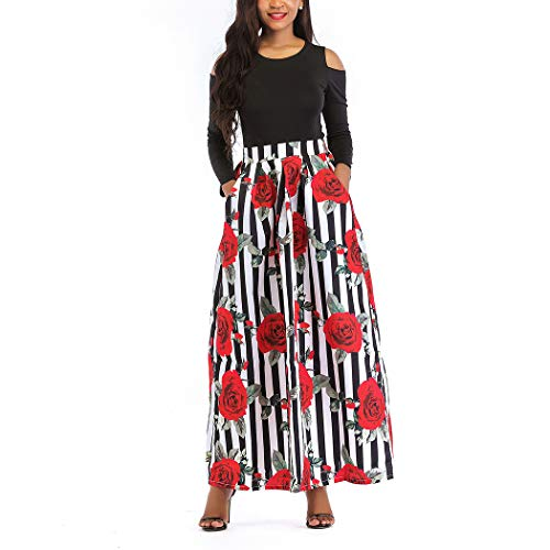 Raylans Women's African Floral Print Two Pieces A Line Long Skirt Maxi Dress Redstripe# XL by Raylans