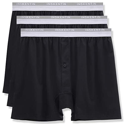 Inskentin Men's Premium Cotton Underwear Relaxed Fit Loose Boxer Briefs Tagless Long Leg Shorts with Fly Black X-Large 3 Pack