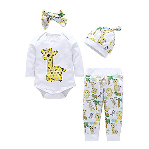 Baby Kids Outfits,Fineser Cute Infant Baby Boys Girls Cartoon Animals Giraffe Print Romper Pants Hat Headband Outfits 4 Sets (White, 3M(70))
