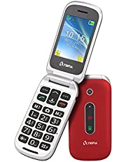OLYMPIA 2217 Seniorphone MIRA, röd stora knappar nödsamtalsknapp hopfällbar stor knapptelefon | Mobiltelefon för seniorer/pensionärer utan kontrakt | åldersanpassad vikbar mobiltelefon med knappar