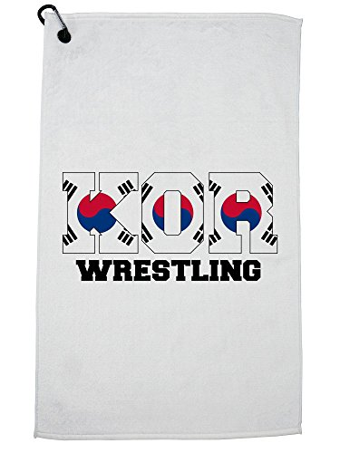 Hollywood Thread South Korea Wrestling - Olympic Games - Rio - Flag Golf Towel with Carabiner Clip by Hollywood Thread