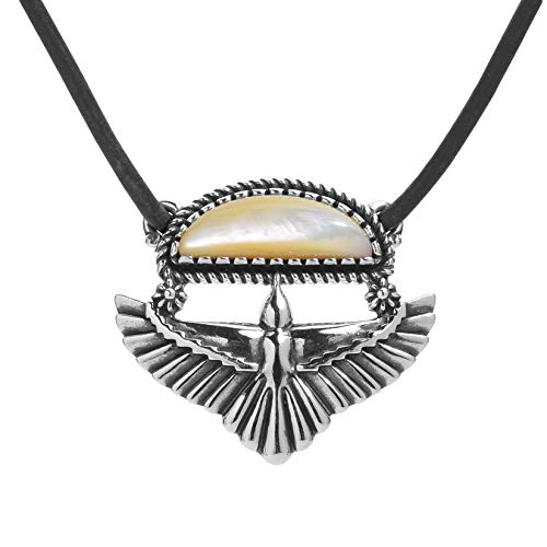 American West Sterling Silver Gold Mother of Pearl Eagle Wings Pendant Brown Leather Cord Necklace 22 Inch