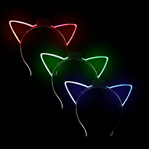 Fun Central BC961, 12 Pcs Assorted LED Cat Ears Headband, Light Up Headwear, Glowing Ear Headbands