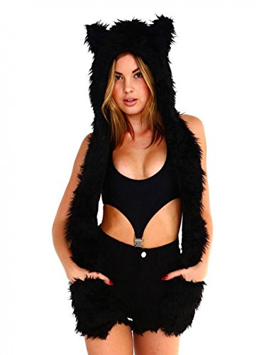 iHeartRaves Panther Rave Spirit Fluffy Furry Hood (Black)