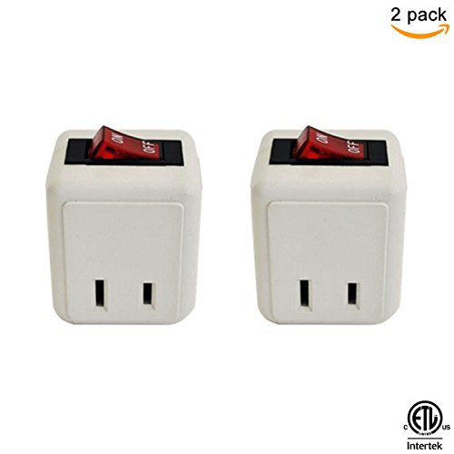 Off Switch - (2 Pack) Uninex Wall Tap Outlet W/Turn ON/OFF Switch Power Adapter 2 prong Plug Without Unplugging Cords ETL
